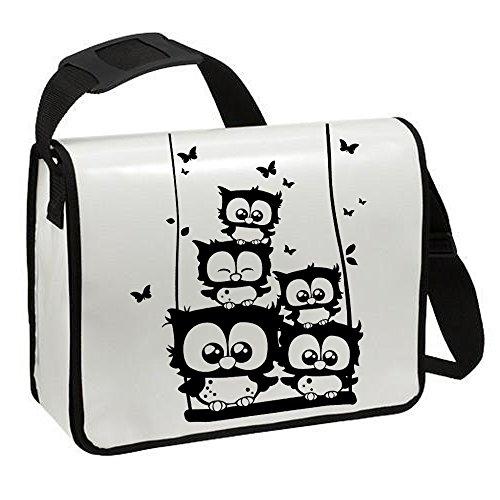 Schultertasche Schultasche Planentasche Umhängetasche Eulchen Eulen auf Schaukel ta222 - ausgewählte Farbe: *Weiß - schwarzer Aufdruck* Weiß - schwarzer Aufdruck