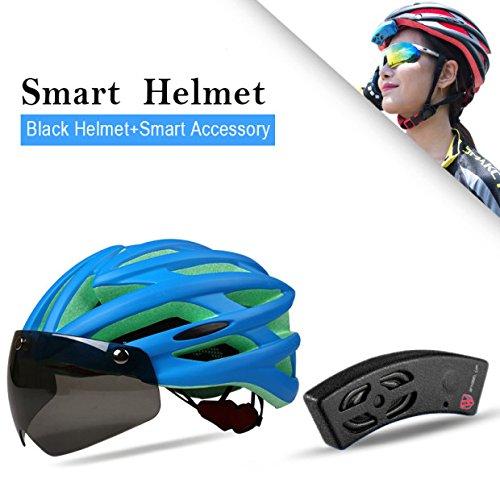 Intelligente casco di guida Moulding Casco Casco di sicurezza stradale regolabile della bici di montagna del casco della bicicletta con gli occhiali di protezione magnetici & Bluetooth Speaker (Blu)