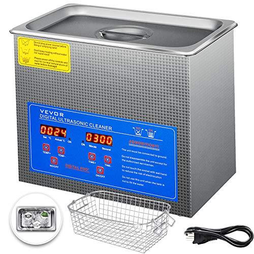Tecmaqui Limpiador Ultrasónico Máquina para Limpieza Ultrasónica de Acero Inoxidable Limpieza con Ultrasonido Profesional con Temporizador de Calentador Digital Limpiador Ultrasónico de Joyería (3L)