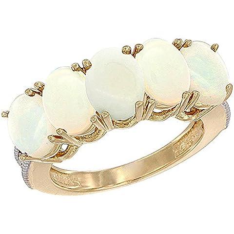 14ct Oro Amarillo ópalo Natural 0,46 ct. 7 x 5 mm Oval 5-piedra anillo de madre con detalles en diamante, Tamaños J a T con medias