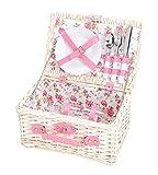 Picknickkorb Für 2 Personen Aus Weide Rosa Rosendekor - Picknick Korb Mit Geschirr Set & Stoff Futter - 2 Teller, 2 Messer, 2 Gabeln, 2 Löffel & 2 Weingläser