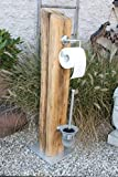 rustikale WC-Garnitur - Toilettenpapierhalter aus historischem alten Eichenbalken Einzelstück & Unikat