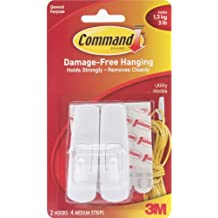 Command ganchos, tamaño mediano, color blanco, 2-hooks (17001es)