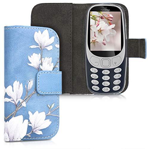 kwmobile Nokia 3310 3G 2017 / 4G 2018 Hülle - Kunstleder Wallet Case für Nokia 3310 3G 2017 / 4G 2018 mit Kartenfächern und Stand - Magnolien Design Taupe Weiß Blaugrau