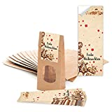 25 braune Weihnachtstüten mit Fenster und Pergamineinlage (7 x 4 x 20,5 cm) und 25 Weihnachts-Aufkleber Sticker 'Frohe Weihnachten' mit Plätzchen zum liebenvollen Verpacken