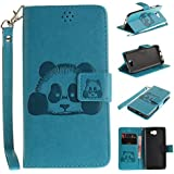 Huawei Y5 II / Y5 2 Case,Huawei Y5 II / Y5 2 Cover,Huawei Y5 II / Y5 2 Wallet Case,Huawei Y5 II / Y5 2 Leather Case,Cozy Hut Cute Cartoon Pattern Panda for Huawei Y5 II / Y5 2 PU Leather Hand Wrist Strap Fashion Stand Folio Anti Shock Flip Case with Magnet Closure and Card Slots Holster Mobile Phone Protective Case For Huawei Y5 II / Y5 2 5.0 Inch - Sky Blue Panda
