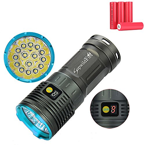 LED Taktische Taschenlampe, Ulanda Superhelle 15000 Lumen 15x XM-L T6 LED Fackel Licht, Fokus einstellbare LED Camping Handlampe mit 3 Licht-Modi Digital Anzeige, Wasserdicht Jagd Taschenlampen (mit 4x 18650 Batterie-Blau) (Led-taschenlampe 15000 Lumen)