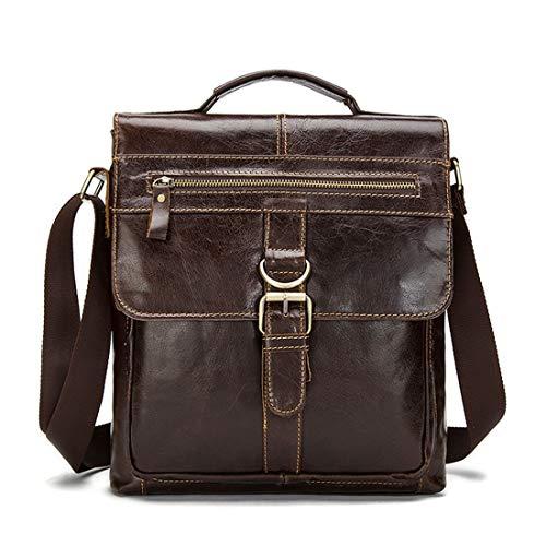 FELICIGG Herren Umhängetasche Messenger Bag Vintage Leder Aktentasche Crossbody Day Bag für Schule und Arbeit (Color : Coffee Color)