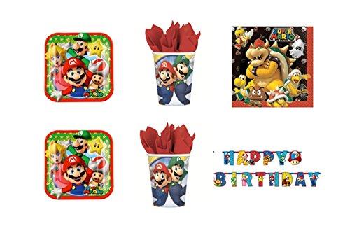 CdC - Kit n° 30 para fiesta de cumpleaños con imágenes de Super Mario Bros y Luigi. Incluye 16platos, 16 vasos, 20 servilletas y 1 guirnalda