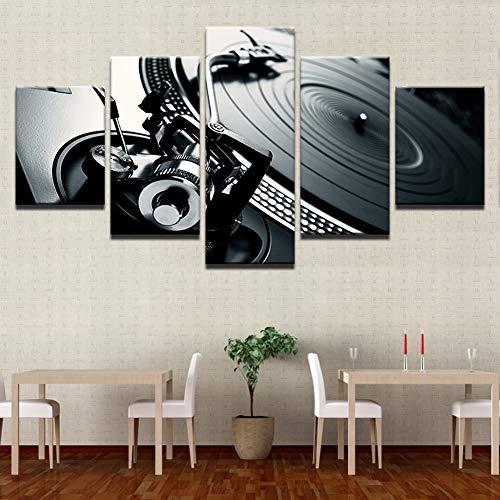 5 Stück Musik DJ-Konsole Poster Modular HD Wandkunst Malerei Segeltuch Bild Wohnzimmer Wohnkultur Rahmen,A,30×40×2+30×60×2+30×80×1 -