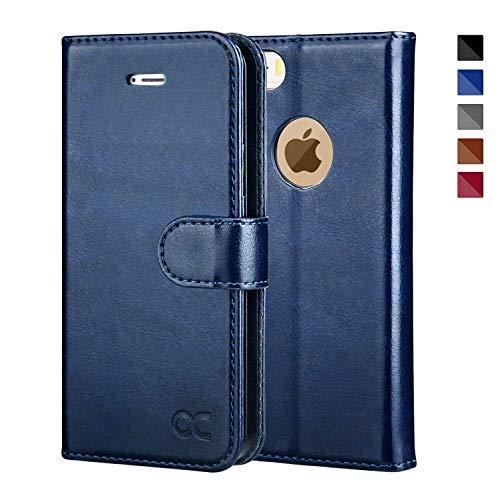 OCASE iPhone 5S Hülle, Handyhülle iPhone 5 [Premium Leder] [Standfunktion] [Kartenfach] [Magnetverschluss] Leder Brieftasche für iPhone 5S SE 5 Geräte Blau