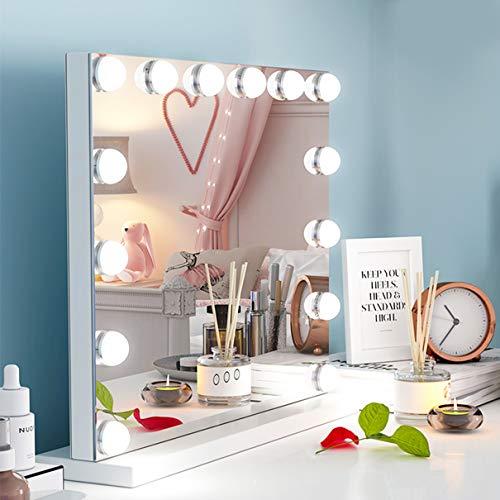 Ovonni Beleuchtete Schminkspiegel Professionelle Kosmetikspiegel 50x42cm, mit USB 14 LED Licht Beleuchtung für Wohnzimmer,Kosmetikstudio,Spa und Hotel