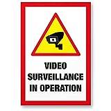Video Surveillance Kunststoff Schild (30 x 20 cm) - Achtung/Vorsicht Videoüberwachung - Hinweis/Hinweisschild Videoüberwacht - Warnschild/Warndreieck