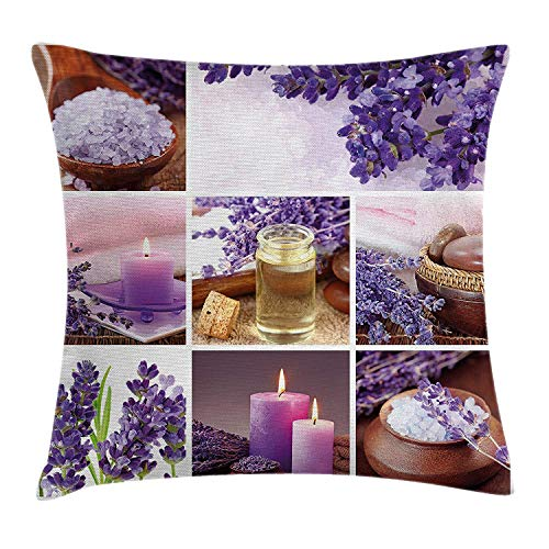 Trsdshorts Spa Decor Throw Pillow Cushion Cover by, Lavender Garden Alike Themed Relaxing Candles Stones and Herbal Salt Image, Decorative Square Accent Pillow Case, 18 X 18 Inches, Purple and White Lavender Square Candle