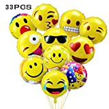 33 Pz Palloncini Colorati Emoji Emoticon per Party, Compleanni, Matrimoni, Decorazione - 45 cm Palloncini in Foglio Elio