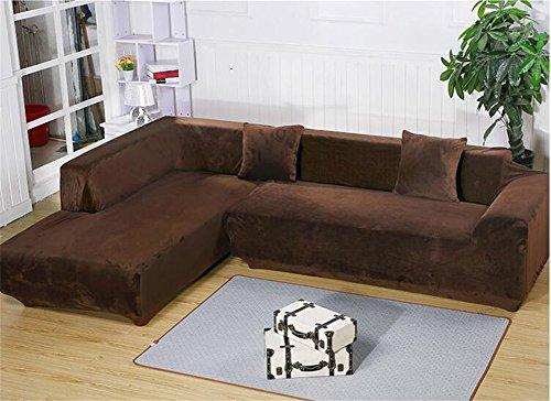 Getmorebeauty Copridivano in tessuto elastico morbidissimo, a tinta unita, si adatta facilmente ai divani ad angolo, ad L e componibili, Coffee, L-shaped 3+3 seats
