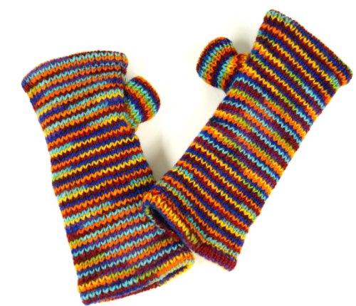 Guru-Shop Handstulpen aus Nepal Multi, Herren/Damen, Regenbogen, Wolle, Size:One Size, Handstulpen Alternative Bekleidung -