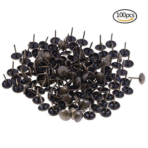Osun 100PCS Tapeziernägel Möbel Messing Nail Pins Bronze Thumb Tack Push Pins, 11von 17mm