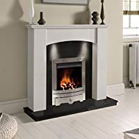 White Marble Stone Surround Black Granite Gas Fireplace Suite Silver Inset Gas Fire with Downlights