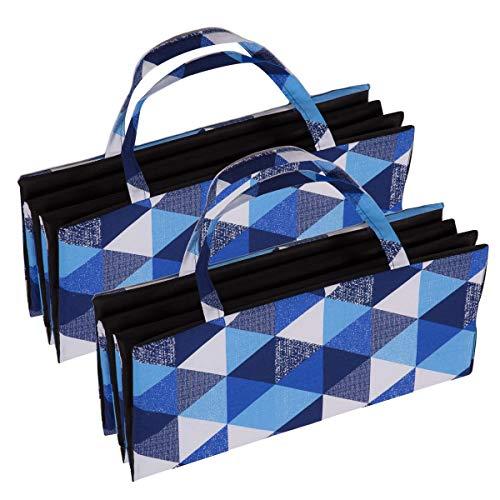 Ferocity 2er Pack Faltbare Strandmatte Set Liegematte mit Tragegriff Schaumstoff Strapazierfähig Decke Modell Modell 6 Blaue Dreiecke Muster [061]