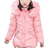 Ankoee Kinder Mädchen Lange Winterjacke Fellkapuze Outerwear Oberbekleidung Winter Kleidung Verdichte Kinderjacke Wintermantel Mantel (Rosa, 140cm/7-8 Jahre)