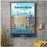 Viaggio ad Amsterdam Canvas Poster di Viaggio Immagini per pareti per Soggiorno Home Decor No Frame-50x70cmx1pcs -Nessuna Cornice