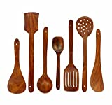 #9: Amaze Shoppee Handmade Wooden Serving and Cooking Spoon Kitchen Utensil Set of 7