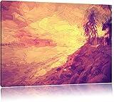 Meravigliose spiaggia capanne pennello balneare effetto, formato: 120x80 su tela, XXL enormi immagini completamente Pagina con la barella, stampa d'arte sul murale con telaio, più economico di pittura o un dipinto a olio, non un manifesto o un banner,