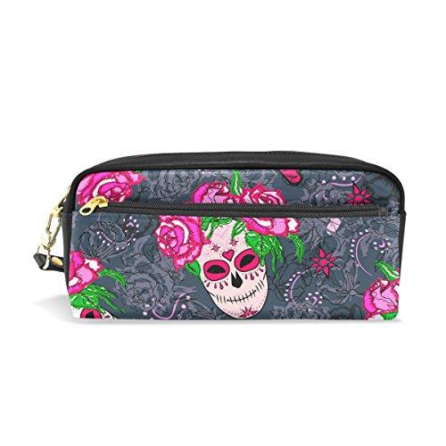 Bleistift Fall, Mexiko Skull Rose bedruckt Reise Make-up Pouch Large Wasserdicht Leder 2Fächer für Mädchen Jungen Damen Herren (Mexiko-handy-fällen)