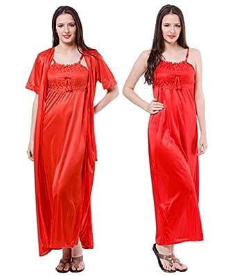 Fasense Satin Nightwear 2 PCs Set of Nighty & Wrap Gown (Medium, Red)