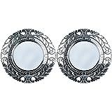MADHUSUDAN GLASS WORKS Mirror & Plywood Wall Mirror (Pack Of 2, Silver) - B07BJ4792K