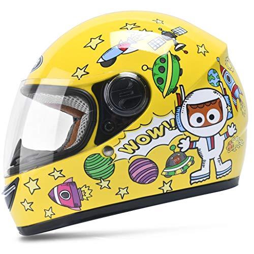 Casco per bambini Casco integrale per moto elettrico Ragazzo Bambino femmina Bambino Inverno Cartoon Cute Hard Hat (Colore : Giallo)