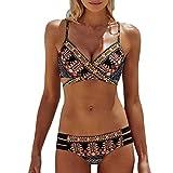 Reaso Femmes Bohême Push-Up Soutien-gorge rembourré Ensemble de bikini de plage Maillot de bain (Asie XL, Multicolore)