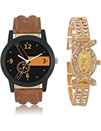 Harmi AKS Golden Combo Couple Watches Pack For Women And Men Watch - For Boys & Girls
