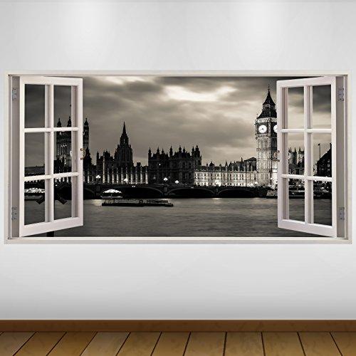 LagunaProject Extra Grande El Big Ben de Londres Ciudad de Noche de Vinilo 3D Póster - Mural Decoración - Etiqueta de la Pared -140cm x 70cm