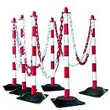 MORAVIA Kettenständer-Set aus Kunststoff mit Hartgummifuß, rot/weiß, 175.19.176