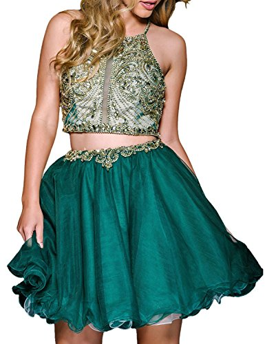 Fanciest Damen Beaded Two Pieces Abendkleider Ballkleid Kurz Heimkehr Dress Green