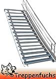 16 Stufen Stahltreppe mit einseitigem Geländer / Breite 80cm Geschosshöhe 274 - 340cm / Robuste Außentreppe / Wangentreppe / Stabile Industrietreppe für den Außenbereich / Inklusive Zubehör
