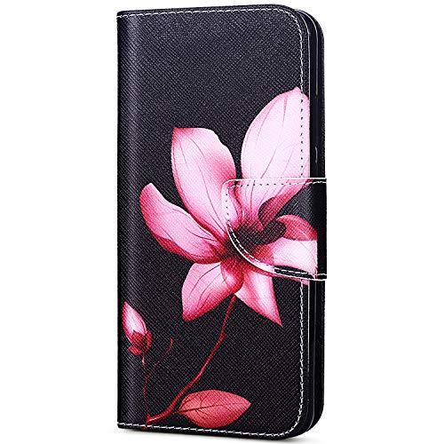 EUWLY Case Cover Compatibile con Samsung Galaxy J7 2017 J730 Custodia Portafoglio PU Pelle Cover Ultra Slim Sottile Flip PU Leather Wallet Case Portafoglio Cover con Porta Carte,Fiori Loto Rosa