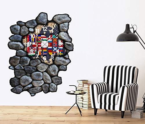 3D Wandtattoo inkl. Uhr 97x120cm Karte Welt Europa Europe Weltkarte Landkarte Aufkleber Wand Sticker Wanduhr Tattoo Wanddurchbruch T0030, Farbe der Uhr:Farbe der Uhr Schwarz (Landkarte Uhr Welt Wand)