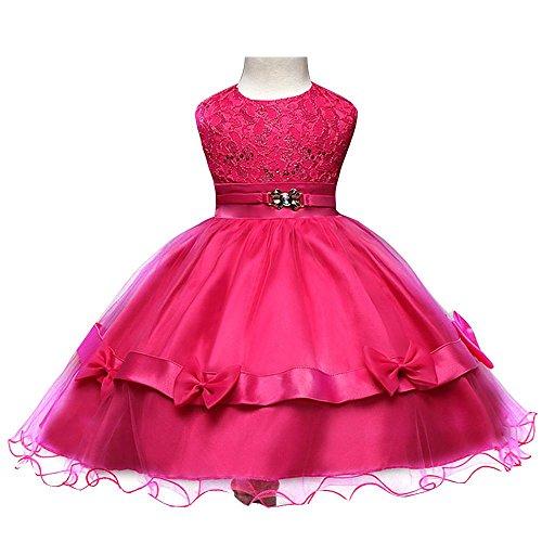NACHEN Blumen-Kleider für Mädchen-Sommer-Art- und Weisespitze-Prinzessin-Rock-Sleeveless Kinder Kleidungs-Kleid , pink , (Superhelden Kostüme Billig Mädchen)