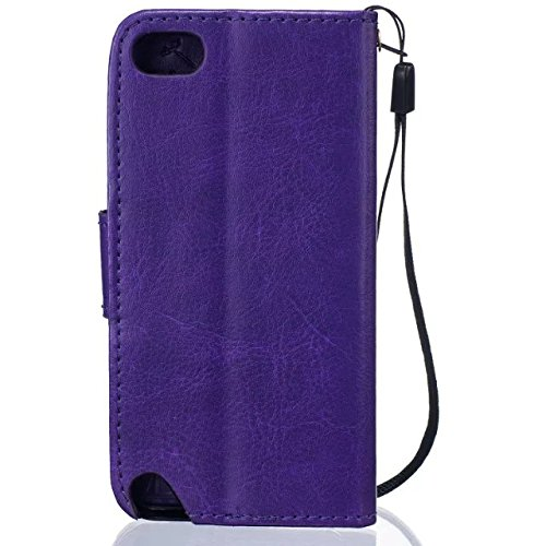 iPhone Case Cover Haute Housse en cuir Premium Quality PU Cover Solid Color Dandelion gaufrage Wallet Support Housse pour iPod Touch5 6 ( Color : Black , Size : IPod Touch5 6 ) Purple