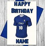 Geburtstagskarte Fußball Italien–Name personalisiert und nummeriert Shirt