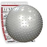 POWRX Gymnastikball Silber 55cm mit Massage Noppen inkl. Workout | Sitzball für einen GESUNDEN Rücken | Yogaball Fitnessball ideal für Büro und zu Hause