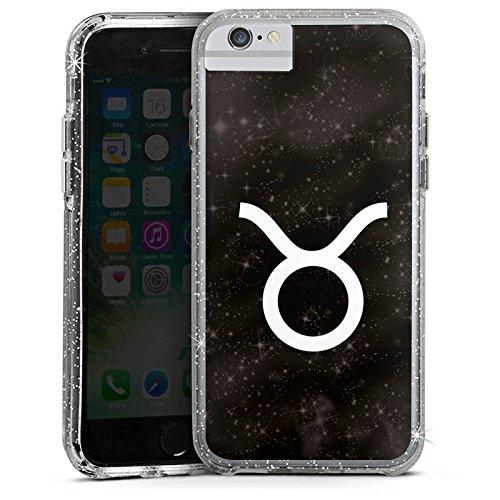 Apple iPhone 6s Bumper Hülle Bumper Case Glitzer Hülle Stier Sternzeichen Astrologie Bumper Case Glitzer silber