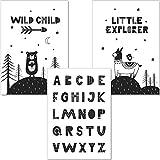 artpin Set ABC Poster Kinderzimmer Dekoration Im Skandinavischen Stil - A4 Bilder für Mädchen Junge - Wandbilder (P8)