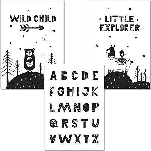 artpin® Set ABC Poster Alphabet Lernposter - Kinderzimmer Dekoration Buchstaben Im Skandinavischen Stil - A4 Bilder schwarz weiß für Mädchen Junge (P8)