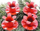 4´er Set EDEL Advent Kerzenhalter / Teller ROT 5 cm zum verarbeiten Weihnachtsdeko / für Adventskränze Adventskranz Adventskranzkerzenstecker Advenskerzenhalter 5557