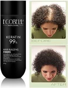 Ecobell Hair Fibers 28 grammes AUBURN. Poudre de cheveux volumatrice calvitie