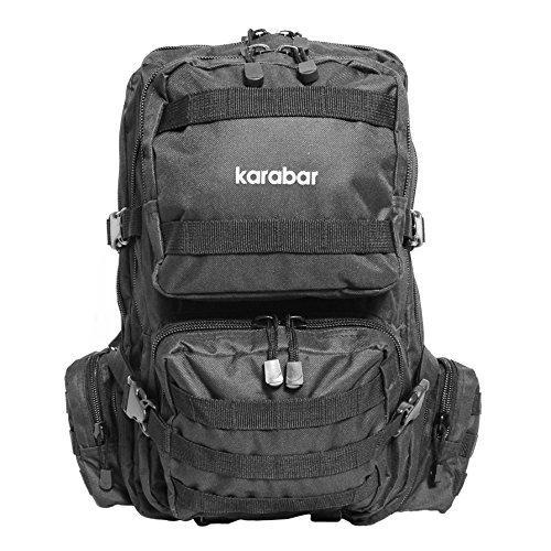 Karabars 50 Litri Zaino Militare - 3 anni di garanzia (Nero) Nero 50 Litro